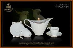 Bộ Trà Cao cấp - Gốm Sứ Minh Long 1: Bộ cafe 0.45L Anh vũ chỉ vàng 01459801403