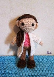 """Doctor Pathologist Molly Hooper from BBC's Sherlock. She's about 13 cm tall - Free Amigurumi Pattern - PDF File click """"download"""" or """"free Ravelry download"""" here: http://www.ravelry.com/patterns/library/crocheted-pathologist"""