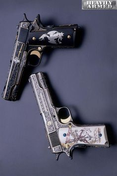 """""""The White & Black Knights"""" 1911 A1 .45 Autos"""