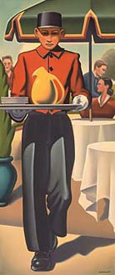 """R. Kenton Nelson   """"A Constant Beckoning"""", 2003.   (oil on canvas--36"""" x 15)"""