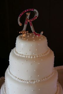 "Initial Cake Topper with added bling. Love this for the Vegas Wedding in ""W""."
