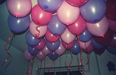 aesthetic, balloons, grunge, pink and purple, pink balloon