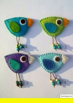 Brooch Felt birds would look cute on a book backpack for kids. Bird felt brooch – red yellow blue green orange – Brooch Felt birds would look cute on a book backpack for kids. Fabric Brooch, Felt Brooch, Brooch Pin, Felt Embroidery, Felt Applique, Embroidery Patterns, Fabric Crafts, Sewing Crafts, Sewing Projects