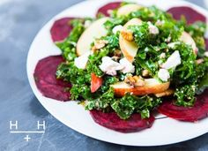 Quick Kale and Beetroot Salad Team fruit and veg with a good cheese and a few cupboard essentials like oil, vinegar, nuts or seeds and you've got a healthy, tasty salad. Raw Food Recipes, Veggie Recipes, Salad Recipes, Cooking Recipes, Healthy Recipes, Hemsley And Hemsley, Feta Salat, Beet Salad, Comfort Food