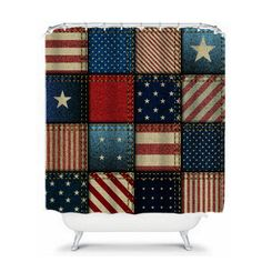 Americana  Patchwork Shower Curtain Red White Blue by FolkandFunky