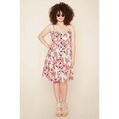 Forever 21 Women's  Plus Size Tropical Print Dress (£9.13) ❤ liked on Polyvore featuring plus size women's fashion, plus size clothing, plus size dresses, plus size day dresses, tropical print dress, womens plus dresses and plus size pink dress