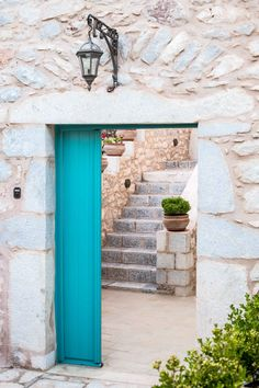 About a year ago, an old building of 1858 was transformed into a olea traditional guesthouse that combines all contemporary comforts. Summer Dream, Old Building, Greeks, Color Palettes, Blue And White, Traditional, Contemporary, Country, Outdoor Decor