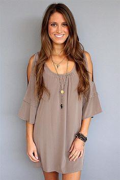 Glam - Mocha Solid Split Sleeve Dress