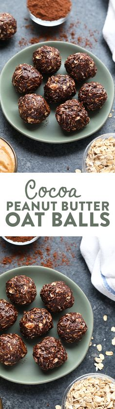 In under 10 minutes, you can have these cocoa and peanut butter oat balls ready to go for your weekly snack. Best part? There are no dates or food processors involved!