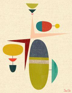Studio E. Presents: Jenn Ski: Mid-Century Modern Art Design for Today's Walls! Like it or leave it? Mid Century Modern Art, Mid Century Art, Motifs Textiles, Modern Artwork, Art Abstrait, Art Graphique, Simple Art, Graphic Illustration, Art Lessons