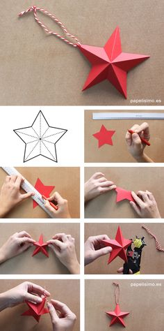 como-hacer-estrellas-de-papel-paper-stars-diy More - Weihnachten Ideen Diy Christmas Star, Diy Christmas Ornaments, Holiday Crafts, Diy Christmas Paper Decorations, Origami Christmas, Ramadan Decorations, Spring Crafts, Diy Paper, Paper Crafts