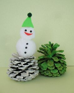 Snowman and tree Winter Christmas craft. Pinecones decorated with glitter and craft foam scraps. Copyright Pamela Maxwell 2013
