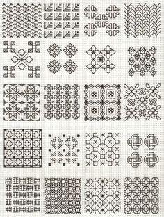Blackwork fill-in patterns from Lesley Wilkins Beginner's Guide to Blackwork.  Hmmm... quilt ideas?