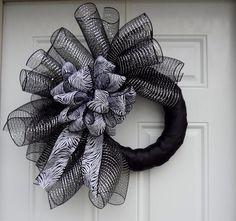 Black Metallic  Silver Elegant Zebra Print Mesh Wreath.