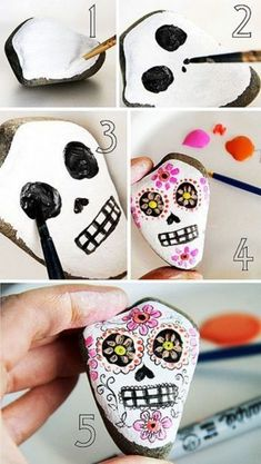 Easy Paint Rock For Try at Home (Stone Art & Rock Painting Ideas) Rock Painting Ideas Easy, Rock Painting Designs, Painting For Kids, Stone Crafts, Rock Crafts, Crafts To Make, Diy Crafts, Pebble Painting, Pebble Art