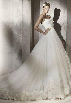 Tulle Strapless A-line Elegant Wedding Dress