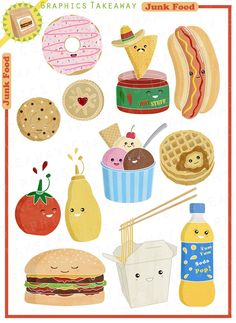 Junk Food Clipart/ Digital Collage (Personal/non-commercial use license). $4.50, via Etsy.