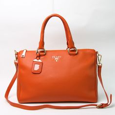 2615f7be95aa 2013 Prada BL0778 orange Grained Calf Leather Vitello Daino Top Handle Bag