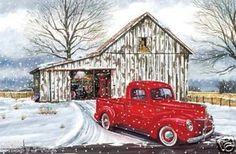 cross+stitch+barn+patterns | red winter barn counted cross stitch pattern ebay cross stitch barn ...