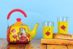 A Krazy Mug: Hand painted steel tea pot with set of two glasses - Hamsa  #handpainted   #homeimprovement   #homedecor   #hamsa   #Kettle   #Glasses   #teapot