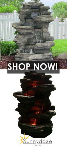 The Sunnydaze Stacked Shale Electric Outdoor Waterfall features LED lights that produce a stunning display. Garden Fountains Outdoor, Outdoor Gardens, Water Fountains, Landscape Fountains, Courtyard Gardens, Backyard Water Feature, Ponds Backyard, Sloped Backyard, Outdoor Waterfalls