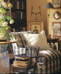 Blue and White Checked Slipcover | Content in a Cottage