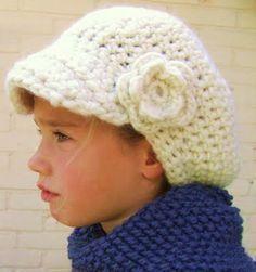 Crochet Girls, Crochet For Kids, Crochet Baby, Free Crochet, Knit Crochet, Crochet Winter Hats, Crochet Beanie, Knitted Hats, Crochet Crafts