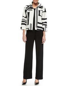 Graphic-Print Stretch Short Jacket, Basic Knit Tank & Stretch-Knit Straight-Leg Pants , Women\'s by Caroline Rose at Neiman Marcus.