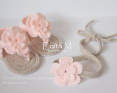 Crochet baby sandals gladiator booties shoes por EditaMHANDMADE