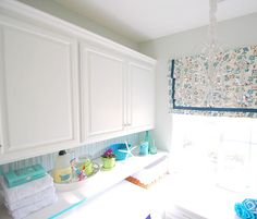 Painting cabinets with Valspar's kitchen enamel and Centsational Girl's laundry room makeover