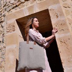 Image of PURA | grande Lino Natural, Summer Bags, Reusable Tote Bags, Grande, Image, Natural Dyeing, Hand Made, Totes