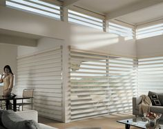 Hunter Douglas - Pirouette - contemporary - window blinds - Live Beautiful Blinds and Design Eclectic Window Treatments, Contemporary Window Treatments, Contemporary Windows, Custom Window Treatments, House Blinds, Blinds For Windows, Window Blinds, Corner Windows, Bay Windows