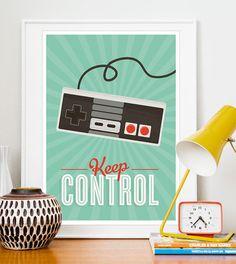 Retro poster Videogame Art print positive quote Print door handz, $21.00