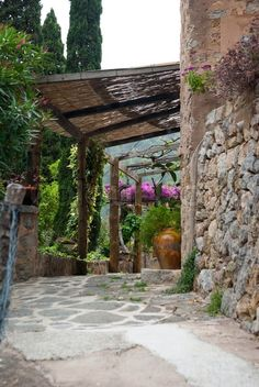 Street of mountain village Deia, Mallorca,Balearic island Spain