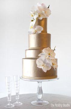 Gold gold wedding cake