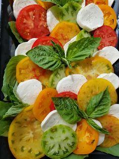 Heirloom tomato caprese www.bin46bar.com Tomato Caprese, Caprese Salad, Heirloom Tomatoes, Bar, Food, Meals, Insalata Caprese