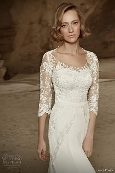 LimorRosen 2014 #bridal collection: Liza #wedding dress with illusion sleeves #weddinggown #weddingdress