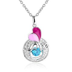 FuzWeb:2017 Spring New Arrival 925 Sterling Silver Pendent Dancing Stone Water Drop Zircon Gift SEG1135W-BH30