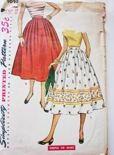 50s Simplicity 4648 Full Pleated Skirt Waist 28 Hips 37