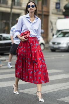 12 outfits to make with things already in your closet, including a button-down and midi skirt mix
