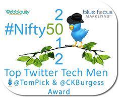 2012 #Nifty50 Top Men in Technology on Twitter - The 2012 top 50 men who represent the technology world on Twitter with class, dedication and integrity. It's been a great year for social business, thanks in large part to the engagement and leadership these 50 men have provided.