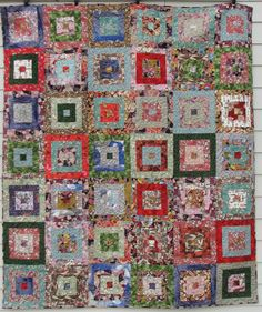 "Masu Quilt - 84""x98"" Queen - Green, Blue, Rose, Red and Lilac.  Floral Square Cube Japanese Quilt Machine Made Quilt by DavidsonStudio on Etsy"
