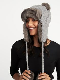 1c5236003e9 Cable-Knit Pom-Pom Trapper Hat for Women