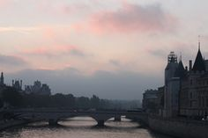 Parisian bridge at morning.