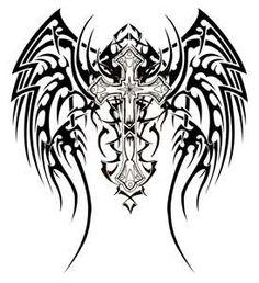 tribal back cross tattoo