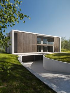 Villa V by RJ Arkitektur in Denmark. Cubic and minimalistic building that transforms on the opposite facade. Wood helps soften the expression. Unique House Design, Minimalist House Design, Minimalist Architecture, Modern Architecture House, Sustainable Architecture, Residential Architecture, Architecture Design, Bungalow, Modern House Facades