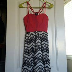 Charlotte Russe Summer Dress Summer dress from charlotte russe. Decorative straps on chest. Cute. Slight high low hem. Charlotte Russe Dresses