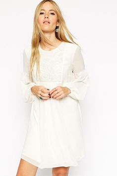 Buy ASOS Swing Boho Dress with Lace Bib at ASOS. Get the latest trends with ASOS now. Bohemian Lace Dress, White Boho Dress, Bohemian Style Dresses, Bohemian Mode, Little White Dresses, Dress Lace, Boho Style, White Lace, Quince Dresses