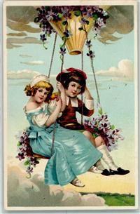 1910 Prägedruck Glückwunsch Ballon Schaukel Kind AK