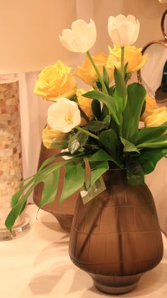 Medium Oriana Vase featuring a bouquet of white tulips and yellow roses